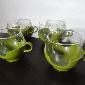 """Vintage Pyrex Roly Poly """"DrinkUps"""" Hot or Cold Glasses with Green Plastic Holders - Mid Century Modern Atomic Style"""