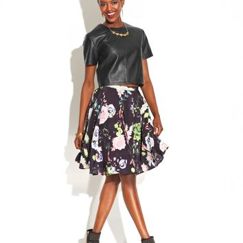 MADE Fashion Week for Impulse Faux-Leather Cropped Top & Floral-Print Skirt