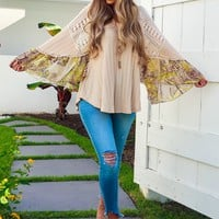 Sweet Summer Blouse: Beige/Multi