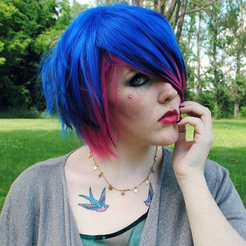 SALE - SNO CONE wig // Emo Blue Pink Black Hair // Scene Punk Rock Short wig