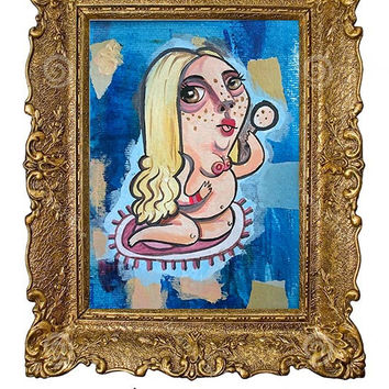 Original painting mixed medi naked woman nude girl blue blonde cute canson unique wall art whimsical quirky funny girly 5 1/2 x 7 1/2 inches