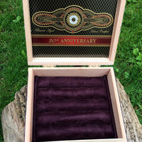 Perdomo 20th Anniversary Cigar Box Jewelry Box,Ring,Earring,Cuff Link,Display,Storage and Organizer in a luxurious Plum Suede Fabric, Box
