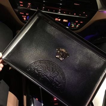 """Versace"" Business Casual Men Bag Fashion Classic Embossed Zip Clutch"