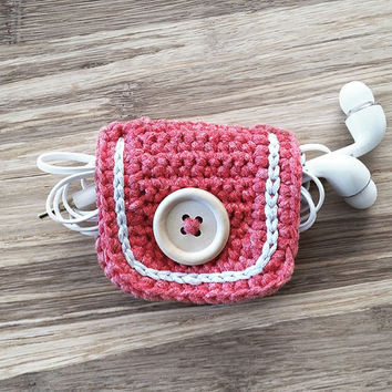 Coral Crochet Cord Holder, Headphone Organizer, Earbud Organizer, Smartphone Accessory, Earphone Cord keeper, Headphone USB Winder
