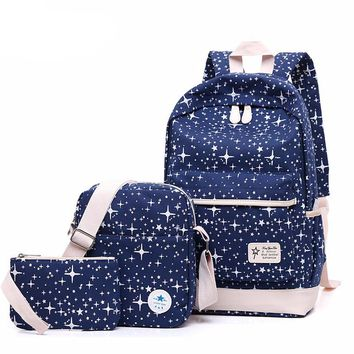 Star print set of 3 Canvas Bags backpack Plus 2
