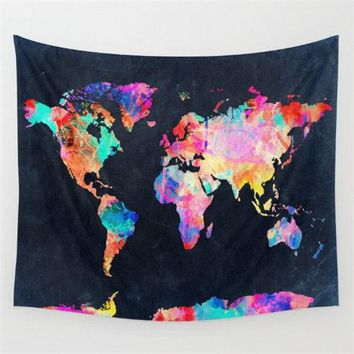 Watercolor World Map Polyester Wall Tapestry