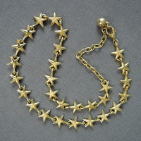 Vintage Star Starfish Necklace, 1980s Gold tone metal, adjustable from 17 to 19 inches