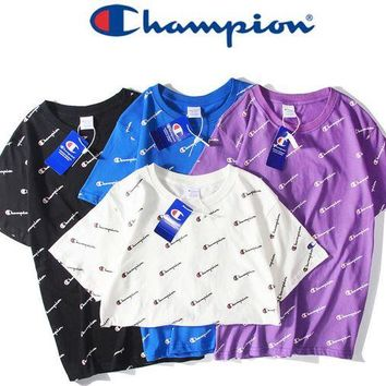 Champion Fresh Color Shirt Top Sleeve Logo Summer More Flag Tan Top B-HYG Four Color