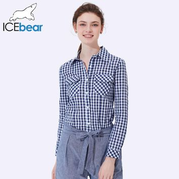 ICEbear 2017 Style Plaid Women Shirts Spring And Summer Casual Fashion Slim Fit Clothes Single Breasted For Women 2006D