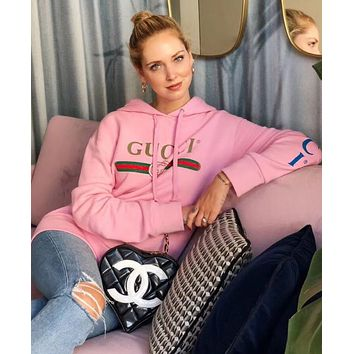 GUCCI : Fashion Dragon Embroidery Sweater Pink Hoodie Pullover Top I12505-1