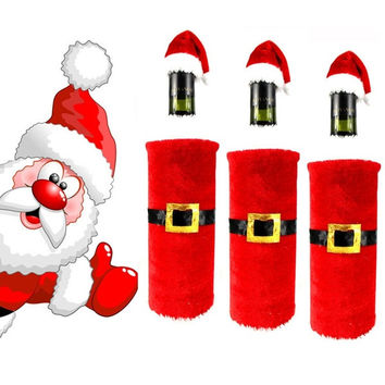Christmas Santa Claus Plush Wine Bottle Set Christmas Decoration Christmas Wedding New Year Gift (Color: Red) = 1946200324