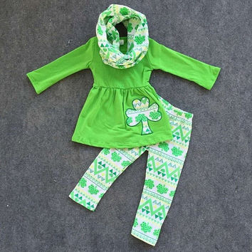 Girls St. Patricks Day Outfit, Baby Girl St. Patricks Outfit, St Patricks Outfit, St Patrick Leggings, Girls Aztec Leggings, Personalized