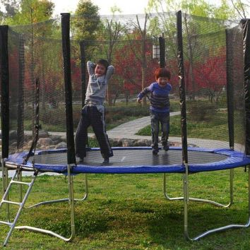 12 ft Round, Trampoline With Safety Net Enclosure, Ladder and Frame Safe