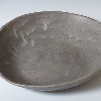 Large Charcoal Stoneware Pottery Ceramic Serving Bowl or Fruit Bowl Unique Shape 9 1/2 by 10 1/4 inches - ready to ship