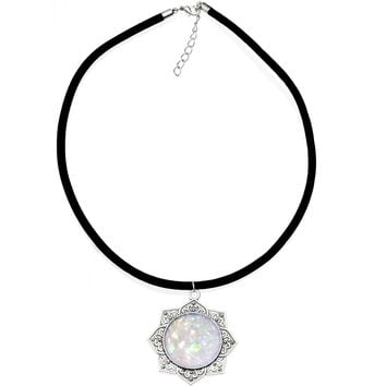 """Handcrafted White Faux Opal Lotus Love Velveteen Cord Necklace 16"""""""