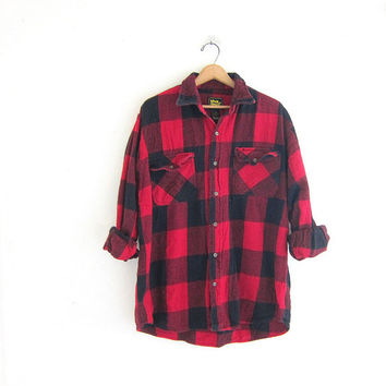 Vintage red Buffalo check Plaid Flannel / Grunge Shirt / oversized boyfriend shirt