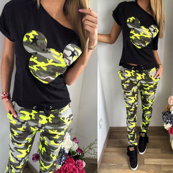 Print Casual Pants Hot Sale Camouflage Women's Fashion Summer Set [8773446285]