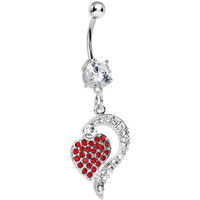 Crystalline Red Gem Paved Passionate Heart Belly Ring | Body Candy Body Jewelry