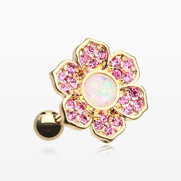 Golden Opal Avens Flower Cartilage Tragus Earring