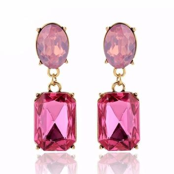 Crystal Stud Drop Earrings
