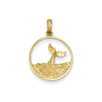 14k Yellow Gold Breached Whale Tail Circle Pendant