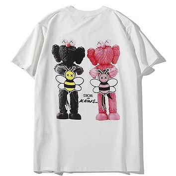 Dior x Kaws Joint Digital Direct Injection Big Bee Print Round Neck Half Sleeve T-Shirt white