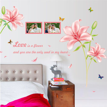 The new wall pink lilies The sitting room the bedroom background can be moved PVC transparent decoration SM6