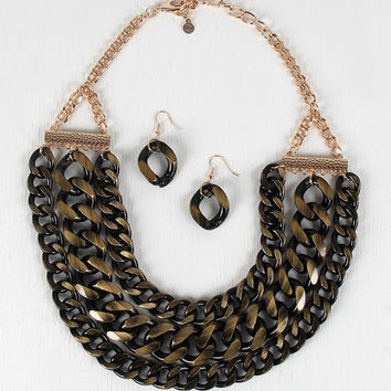 Ombre Brushed Curb Chain Necklace