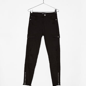 Cargo pants with zippers - Pants - Bershka United States