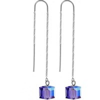 Handcrafted Tanzanite Threader Earring Created with Swarovski Crystals