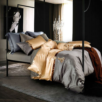 fashion luxury silk bamboo fiber bedding sets gray light golden solid linens Queen/King Size sheets sets coverlet