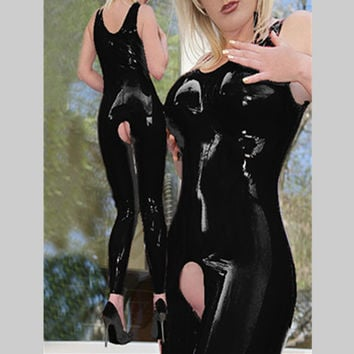 Sleeveless with cup open file Siamese tight fitted women sexy vinyl catsuit