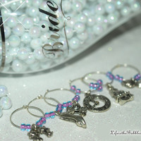 Happily Ever After Glass Stemware Charms 6, Wedding Accessories, Bridal Shower, Bachelorette Party