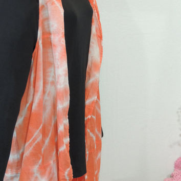 Hippie  Boho Chic Vest S- L Long Orange White  / Cotton Upcycled Gypsy Prairie Chic Duster / Artsy Recycled Eco Long Vest By Tattered FX