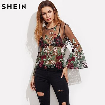 SHEIN Embroidery Blouse Long Sleeve Summer Boho Blouse Black Fluted Sleeve Botanical Embroidered Tulle Top