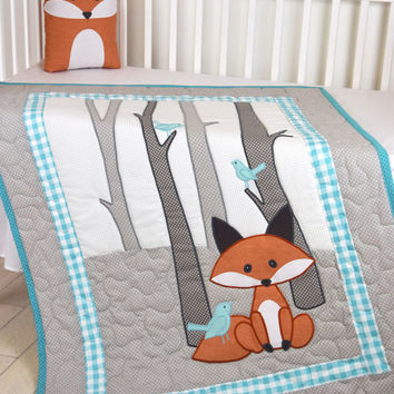 Fox Blanket Teal Gray Nursery Baby Boy Quilt Woodland Crib Bedding Forest