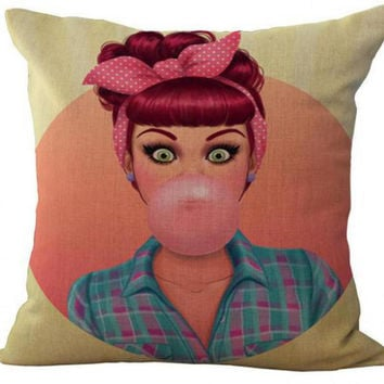 Hot Selling American Style Cartoon Anime Girl Cotton Linen Throw Pillow Home Decor Cushion For Children's Birthday Gift