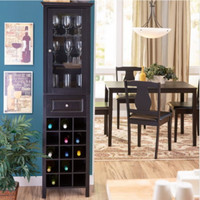Traditional 15-Bottle Wine Cabinet With 1 Drawer Kitchen Furniture Black Finish