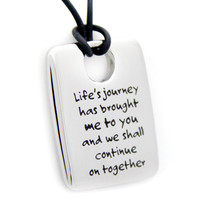 Life's Journey Dog Tag Pendant Stainless Steel Necklace