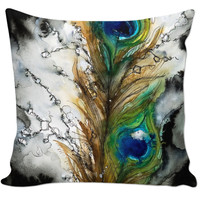 Peacock Feather Couch Pillow
