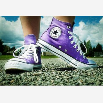 Adult Leisure  Converse All Star Sneakers High-Top Leisure shoes Purple