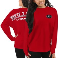 Women's Georgia Bulldogs Red Aztec Sweeper Long Sleeve Top