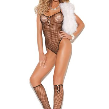 Diamond net teddy with pearl accents and matching knee hi's Black One Size