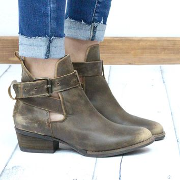 Very Volatile: Fiery Vintage Distressed Bootie w/ Buckle + Cut Out {Tan}