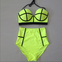 High waist swimsuit,Push up Neoprene Bikini