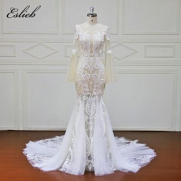 Eslieb Custom made Good Quality Wedding Dresses Button back Appliques Bridal Gowns Vestido De Novias Wedding Dress XF17108
