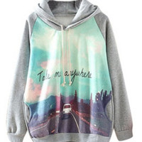 Gray Road Trip Print Hooded Sweater