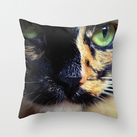 Lady Cat Throw Pillow by Magic Emilia