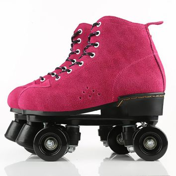 Women Girl Double Line Adult Quad Parallel Figure Skates Shoes Boots PU 4 Wheels Shockproof With Brake Breathable Red Color