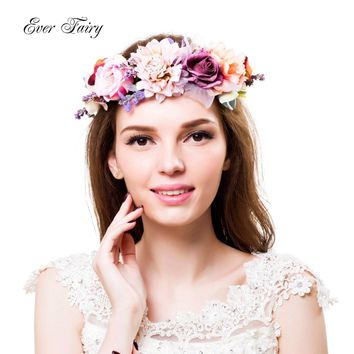 2017 Women Wedding Flower Crown Wreath Festival Girls Party Floral Crown Garlands With Ribbon Flower Headband Accessories